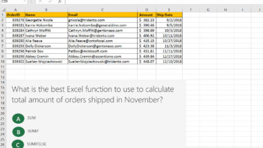 Excel Assessment Test: multiple choice sample