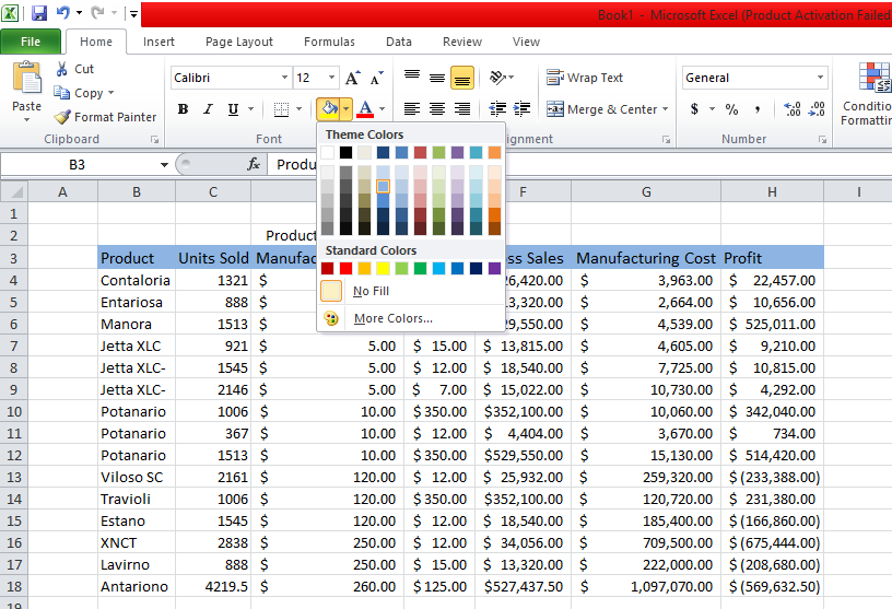 Change Color For The Header Row in excel