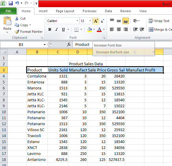 Change Font Size in the Header in excel