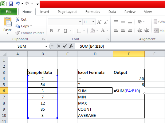 Excel Functions sum
