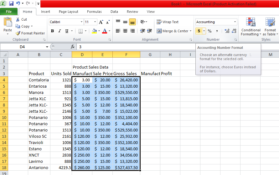 Format Price And Sales Columns As Currency