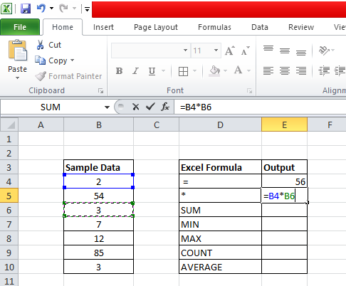 Multiplication using Excel formula