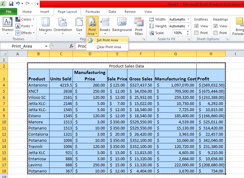 Select Print Area to Print Only Data Table
