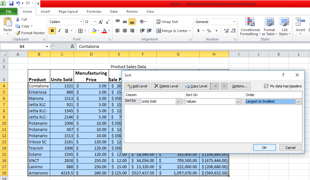 Sort Data Descending Based On Units Sold excel