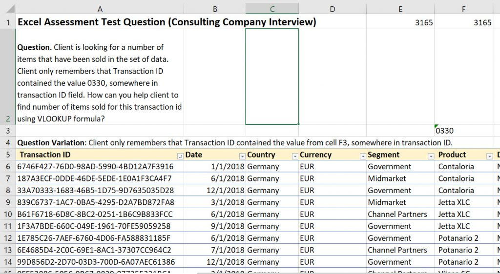 Excel Consulting Interview - Advanced Excel VLOOKUP Test Questions and Answers