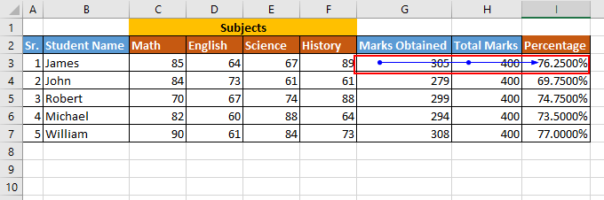 How to navigate of a cells which are used in a formula for Calculation and highlight them with an arrows?