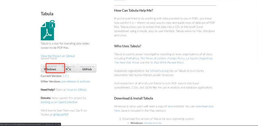 Tabula Open Source tool