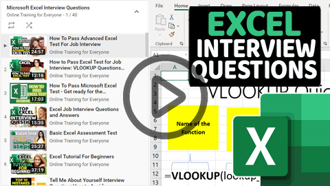 Excel Interview Questions Video Tutorials