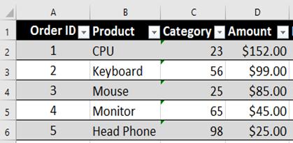 Green Rectangles in Excel Column
