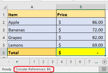 The excel status bar displays the text circular references. what does this mean