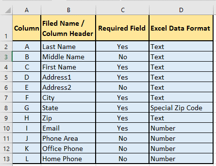 how to configure Excel values