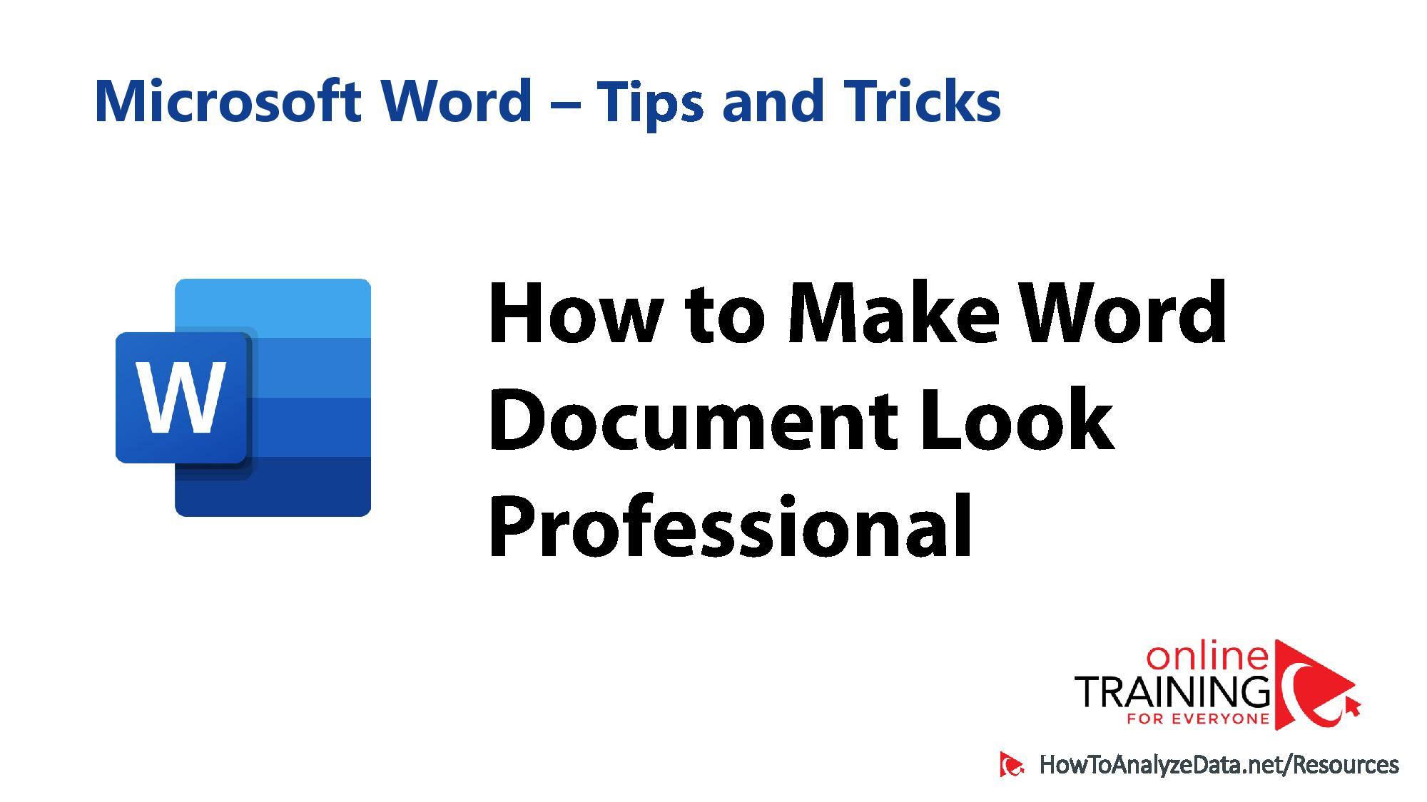 How to Make Microsoft Word Document Look Professional