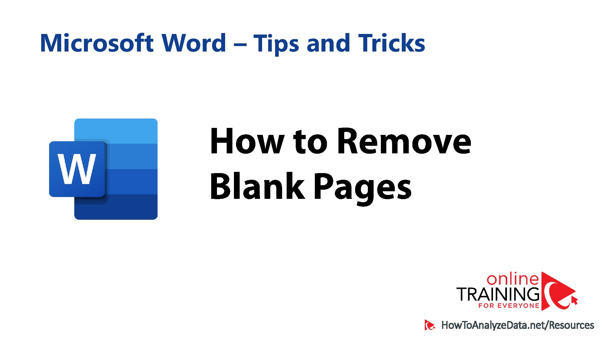 How to remove blank pages in Word