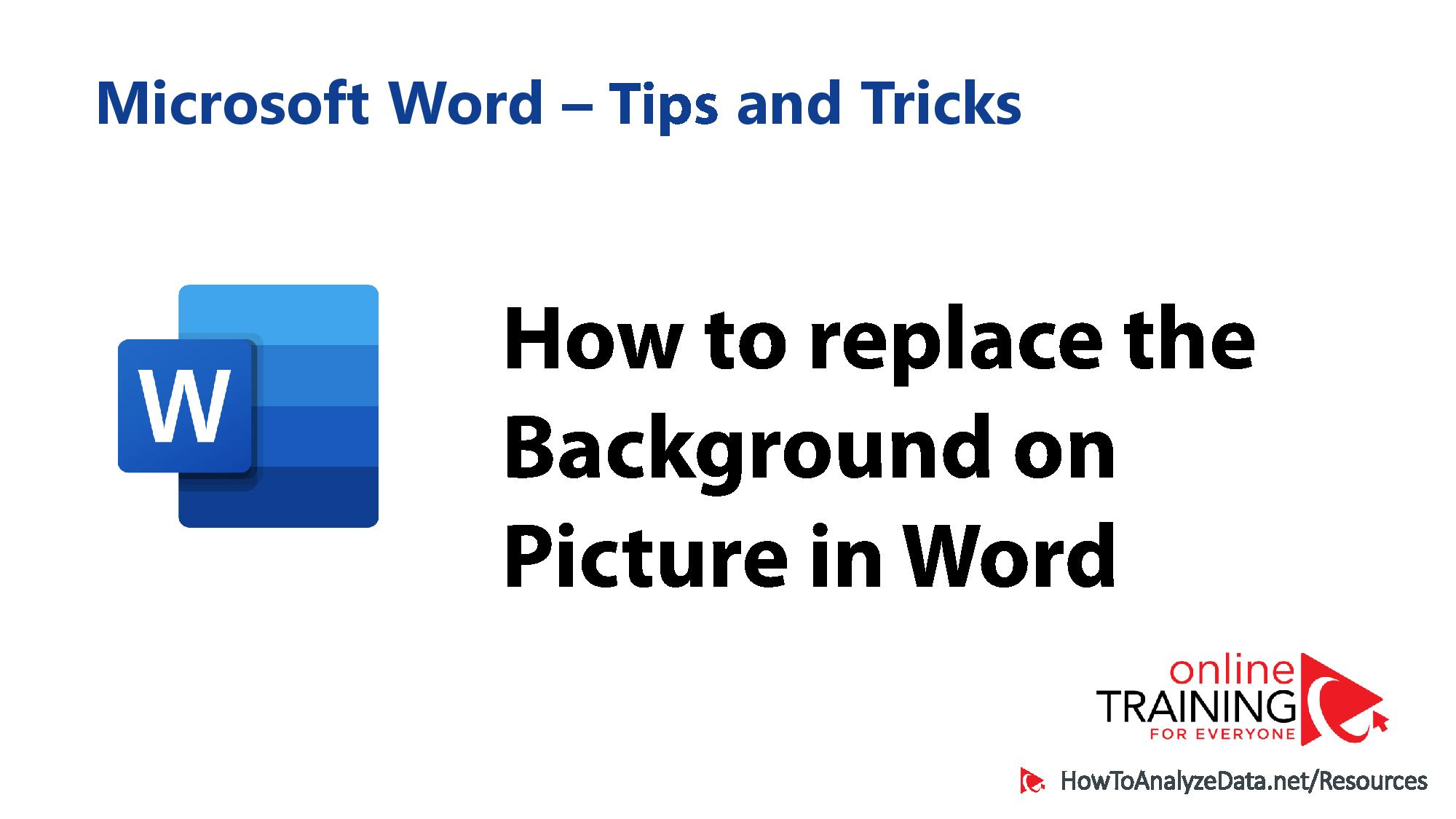 How to replace the background on Image in Word