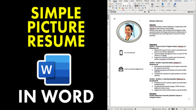 Simple Easy Picture Resume in Word Template
