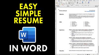Simple Easy Word Resume Template