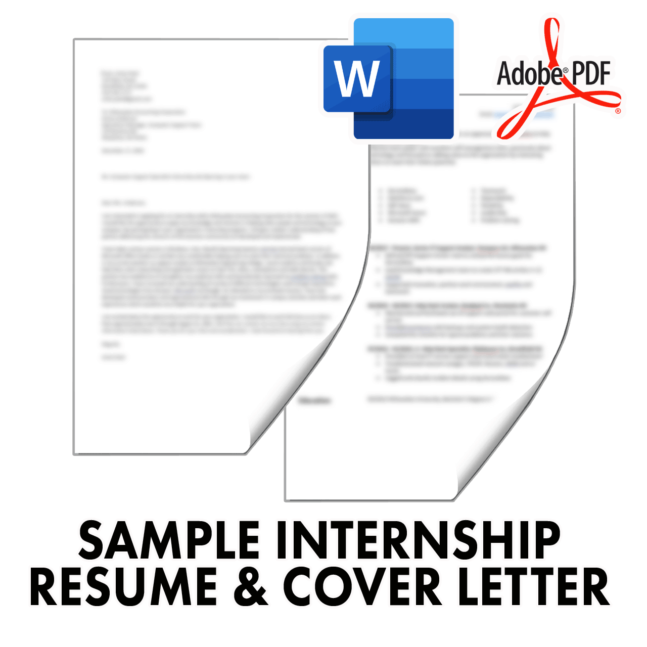 Sample Internship Resume and Cover Letter Templates in Word and PDF