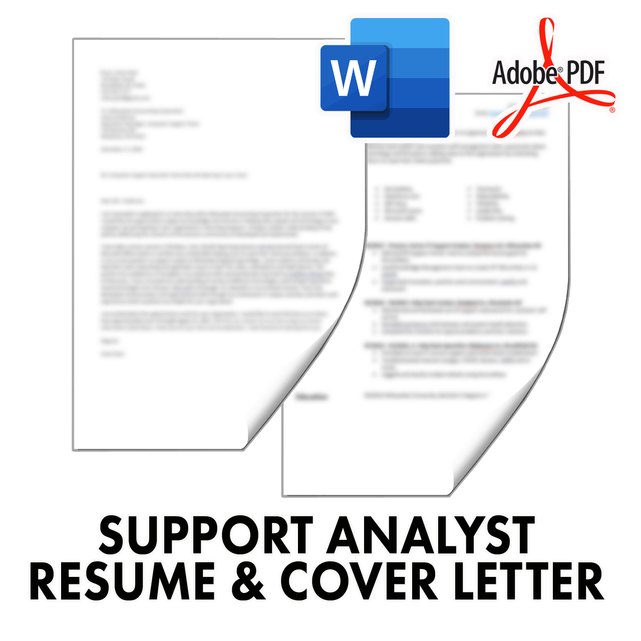 Support Analyst Resume and Cover Letter Templates in Word and PDF